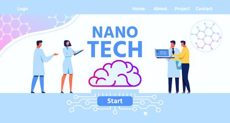 Flat Landing Page for Nano Tech Human Brain Science Research Laboratory. Text Mockup with Brainstorming Male and Female Scientists. Artificial Intelligence Development. Vector Illustration