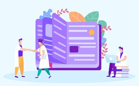Handshake Men in White Coats. Finish Distance Learning. Distance Learning. Man with Laptop on Background Book. White Background. Vector Illustration. Getting Diploma. Students in White Coat. Ilustrace