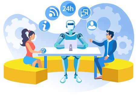 Artificial Intelligence in Call Center Cartoon. People Contact Support. Company uses Chat Bots Artificial Intelligence to Communicate and Process Requests from Customers. Vector Illustration.