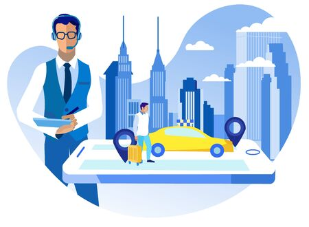 Call Center Passenger Service Vector Illustration. Call Center Operator Works in Taxi Service. Passenger Man with Suitcase Ordered Taxi. Screen Smartphone Yellow Taxi Car Background Metropolis.