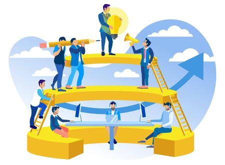 Coworking in Call Center-Vektor-Illustration. Organisation und Unterstützung von Verkaufsprozessen und Einkäufen von Produkten und Dienstleistungen, Organisationsservice. Männer arbeiten im gemeinsamen Arbeitsbereich, Cartoon. Vektorgrafik