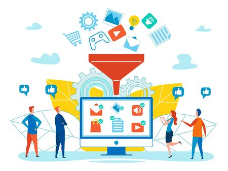 Generating Online Sales Flat Vector Concept with Goods, Services and Media Content Falling in Funnel, Clients Like Suggestions, Customers Choosing, Buying, Recommending Goods in Internet Illustration 일러스트