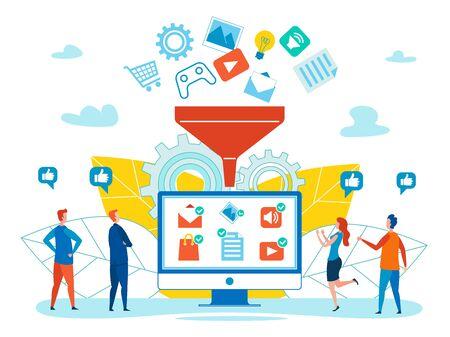 Generazione del concetto di vettore piatto di vendita online con beni, servizi e contenuti multimediali che cadono nell'imbuto, clienti come suggerimenti, clienti che scelgono, acquistano, raccomandano merci nell'illustrazione di Internet Vettoriali