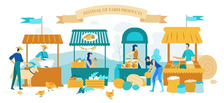 Illustration Inscription Festival Farm Products. People Sell Environmentally Grown Foods, Fruits and Vegetables. Men and Women Farm Workers Sell Agricultural Products at Fair. Cartoon Flat.