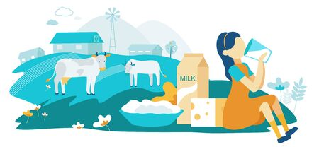 Flat Dairy Cow Family Farm Vector Illustration. Girl Drinking Milk on Background Grazing Cows. Dairy Products are Made from Natural Milk. Cottage Cheese and Hard Cheese are on Grass.
