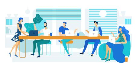 Vector Illustration Coworking Large Long Table. People Share Workspace by Working Together on Laptop at Common Table with Panoramic Windows. Men Drinking Coffee at Work. Corporate Meeting.