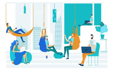Vector Illustration Coworking Frameless Furniture. Playing Area Coworking Center. Employees Relax from Stress. Men and Women Lie in Hammocks and Sit in Frameless Chairs. Workplace Room. Ilustrace