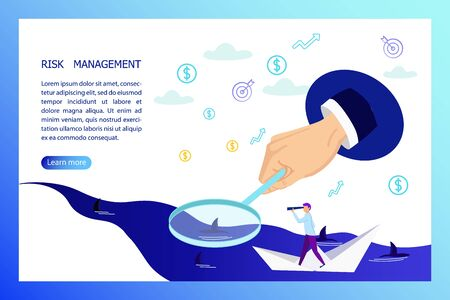 Risk Management Horizontal Banner with Business Man Floating on Paper Boat Looking in Telescope on Sharks in Ocean and Huge Hand with Magnifier Help him to See Danger .Cartoon Flat Vector Illustration