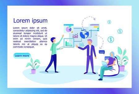 Employees in Office Discussing. Financial Project Management, Business, Workflow and Consulting Teamwork, Worldwide Global Customer Relationship. Cartoon Flat Vector Illustration, Horizontal Banner.