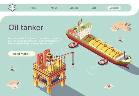 Isometric Gas Oil Tanker Ship and Offshore Platform Banner. Container ship or LNG tanker. Fuel Industry with Drilling Extraction Refining Storage and Transportation Facilities. Vector 3d Illustration Ilustração