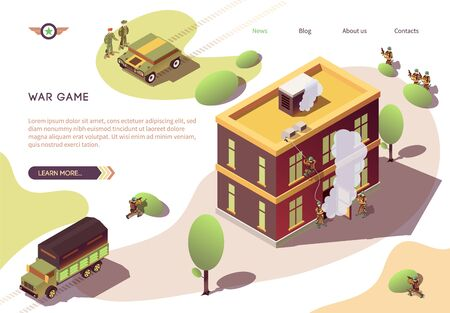 War Game Banner with Building Carrying by Assault. Special Ops Unit Attack Sensitive Facility. Armored Vehicles, Soldiers in Ambush, Attacking Forces with Smoke Grenade. Vector Isometric Illustration