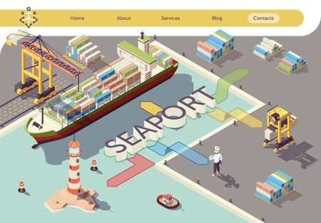 Industrial Seaport Isometric Banner. Ship Cargo Transport Logistics Flowchart Vector 3d Illustration. Containers Loading Steel by Crane and Special Load Equipment under Port Worker Control. Illustration