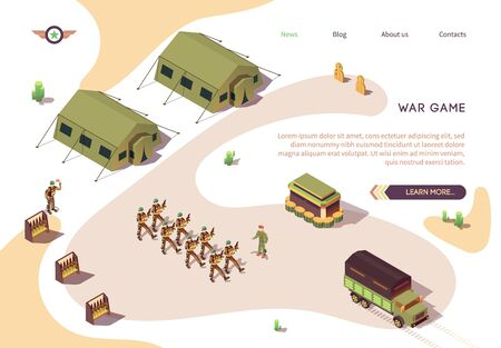 War Game Banner with Military Base Camp in Dessert. Army and Force Vehicles. Soldier in Uniform Marching. Military Tents and Stands with Weapons. Full Combat Alert. Vector Isometric Illustration