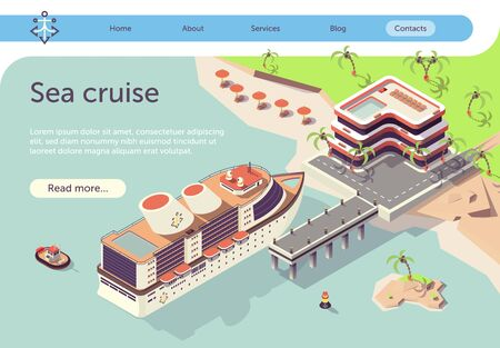 Sea Cruise Travel in Tropical Country by Ship. Summer Vacation Pleasure Voyage Presentation. Text Banner with Liner Arriving to Pier. Hotel and Beach with Palm Trees Landscape. Vector 3d Illustration