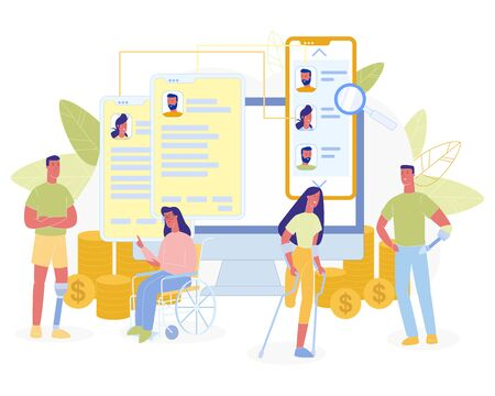 Earnings for People with Disabilities Metaphor Flat Cartoon. Men and Women Talking, Discussion, Speaking. Huge Mobile and Computer Screen with Online Chat and Coins on Backdrop. Vector Illustration Ilustração