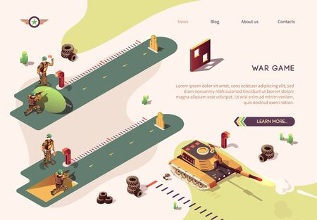 Shooting Competition in War Game Isometric Text Banner. Vector Shooter Action Illustration with Firing Butts. Soldier SWAT, Officer, Sniper from Special Operation Unit. Tank Firing Operation Illusztráció