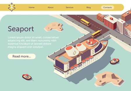 Seaport Isometric Banner with Ocean Liner and Place for Presentation Text. Transport Logistic Sea and Transportation. Floating Tugboat, Buses Driving People to Cruise Ship. Vector 3d Illustration. Illustration