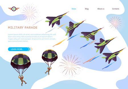 Bandiera isometrica di parata militare. Spettacolo dell'aeronautica militare, volo acrobatico. Jet da combattimento militari e paracadutisti durante la dimostrazione. Saluto contro Sky. Illustrazione di vettore. Giorno dell'Indipendenza