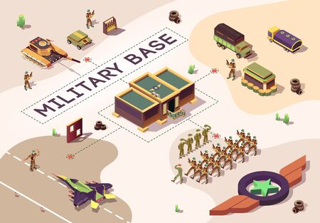 Banner with Military Base in Dessert. Army Location, Air and Land Force Armored Vehicles. Low Poly Camp. Marching Column Soldiers in Camouflage. Vector Illustration with Isometric Logo Star Illustration