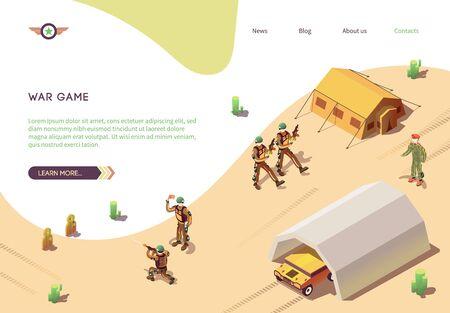 War Game Banner met militair trainingslegerkamp. BTR in hangar, marcherende soldaten in woestijncamouflage met wapens, geweerschutter, bataljonscommandant. Isometrische vectorillustratie