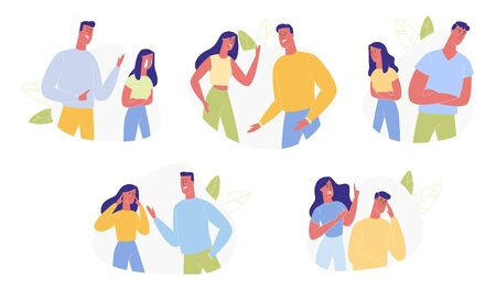 Young Family Quarrel and Swear Set Isolated on White Background. Aggressive Man and Woman Yell on each other. Scandal between Husband and Wife. Love, Human Relations. Cartoon Flat Vector Illustration