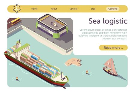 Sea Logistic and Maritime Transportation Isometric Banner. Sea Freight and Shipping. Seaport, Cargo Ships, Steel Containers, Sail-Boat and Bus. Import Export Transport Industry. Vector 3d Illustration