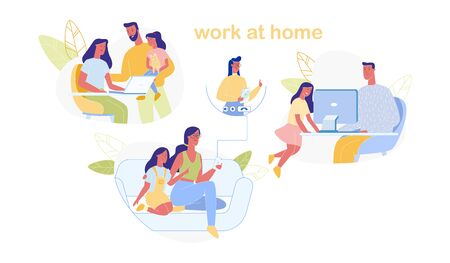 Work at Home Set Isolated on White Background. Man and Woman Domestic Workplace. Mother and Father Doing Remote Freelance Job Using Computer. Happy Family. Cartoon Flat Vector Illustration, Banner.