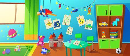 Salle de jeux pour enfants ou intérieur de la maternelle avec placard, table, livres et jouets sur les étagères et au sol, images de bébé dessinées à la main sur le mur et grande fenêtre lumineuse. Illustration vectorielle plane de dessin animé Vecteurs
