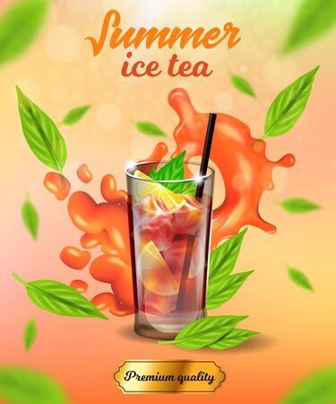 Summer Ice Tea Vertical Banner, Premium Quality Cold Drink, Glass with Ice Cubes, Lemon or Citrus Slices and Straw, Green Leaves around, Advertising, Packaging Design, 3d Vector Realistic Illustration