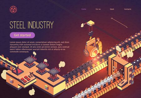 Steel Industry Banner with Iron Smelting Conveyor. Metallurgy process and Metal Parts Production. Vector Isometric Illustration for Plant with Man in Overalls Reladles Molten Cast Iron in Foundry. Ilustração