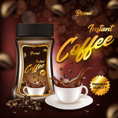 Instant Coffee of Premium Quality Advertising Banner, Glass Bottle and White Porcelain Cup on Plate with Black Beverage Splash, Heap of Coffee Beans, Mockup Design, 3d Vector Realistic Illustration