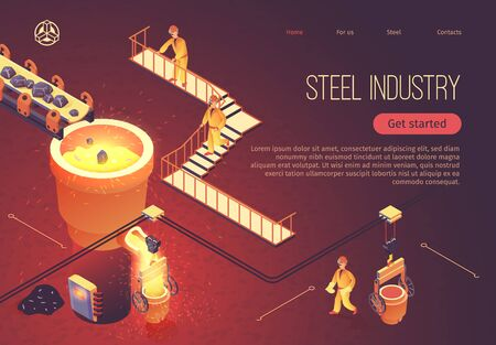 Steel Industry Banner for Factory Workshop. Vector Isometric Illustration Metallurgy Process. Stones Move along Conveyor into Tub with Molten Cast Iron. Smelting Metal at Foundry. Employees Work Vectores