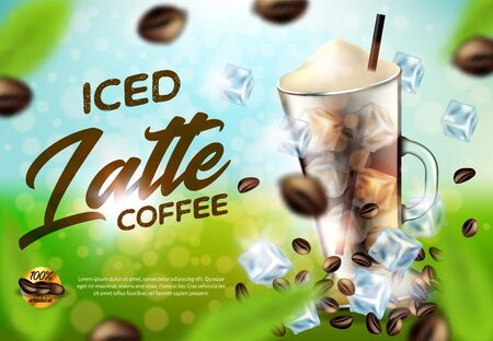 Iced Arabica Coffee Latte Promo Ad Banner, Drink Glass with Handle, Cold Brown Beverage with Ice Cubes, White Foam and Straw, Coffee Beans on Green Blurred Background, 3d Vector Realistic Illustration