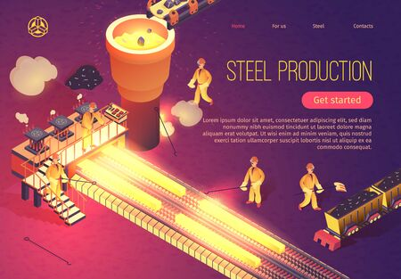 Steel Production Banner with Metallurgy Process and Working Team Employees. Industrial Metalworking Vector Isometric Illustration with Melting Casting and Welding Metallurgical Process Çizim
