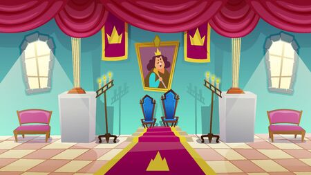 Castle Hall with Two Thrones for King and Queen, Portrait of Ruler in Crown above. Interior Ballroom for Royal Family. Medieval Palace, Fantasy or Game Background. Cartoon Flat Vector Illustration