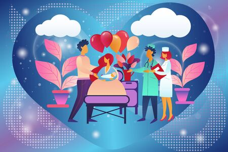 Happy Family with Newborn Baby in Chamber of Maternity Hospital. Delivery, Childbirth, Clinic Room with Mother Bed and Medical Staff, New Born Child, Mother, Father, Cartoon Flat Vector Illustration Ilustracja
