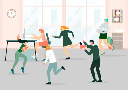 Deadline Situation, Boss with Megaphone Reporting to Employees, Office Chaos, Stressed Workers Hurry Up with Job, Work Rush, Busy Fussing Overwork People at Workplace. Cartoon Flat Vector Illustration