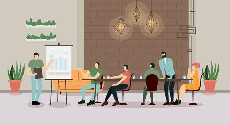 Unternehmensleiter, Business Coach, Executive Manager, der auf das Flipchart-Diagramm zeigt, die Unternehmensstrategie erklärt, finanzielle Indikatoren bei Treffen mit Mitarbeitern präsentiert. Flache Vektorillustration der Karikatur Vektorgrafik