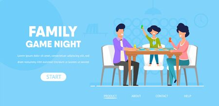 Family Game Night Horizontal Banner, Happy Father, Mother and Little Daughter Sitting at Table Playing Board Game Moving Chips. Indoors Spare Time Activity, Leisure. Cartoon Flat Vector Illustration Ilustração