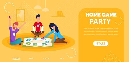Home Game Party Horizontal Banner. Friends Company Sitting on Floor Playing Board Game Moving Chips. Couple of Men and Woman Spending Time Together, Leisure, Weekend. Cartoon Flat Vector Illustration