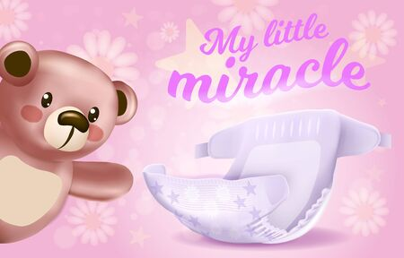 My Little Miracle Horizontal Banner, Absorbent Diaper with Stars Pattern and Cute Teddy Bear Toy on Pink Background with Flowers, 3D Vector Realistic Illustration for Baby Package Design, Advertising 일러스트