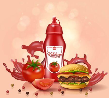 Soporte de botella de salsa de tomate cerca de tomate fresco, hamburguesa con pimiento morrón disperso en la superficie de la mesa, con salpicaduras de salsa roja sobre fondo rosa. Promo publicitario para comida rápida, ilustración realista de vectores 3D