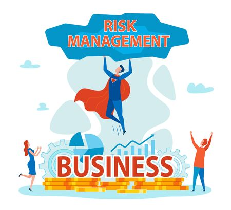 Superhero Holding Stone with Risk Management Flat Cartoon Banner Vector Illustration. Saving Business from Problems. Coins, Gears, Charts and Graphs on Background. People Happy because of Rescuing.