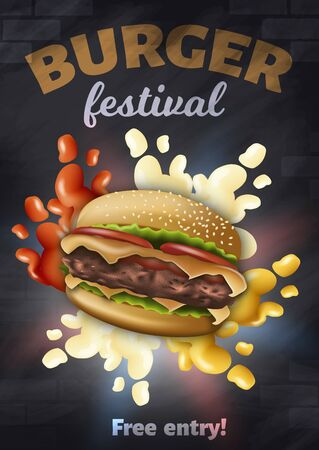 Burger Festival Vertical Banner with Tasty Hamburger with Cheese, Meat and Ketchup, Mayonnaise, Mustard Splashes around, Fast Food Event Poster, Placard, Advertising, 3D Vector Realistic Illustration