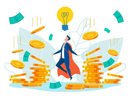 Idea Generation Cartoon Flat Vector Illustration. Businessman in Hero Costume Creating Business Ideas. Earning Money and Getting Profit. Reward for New Idea. Character Making Money. Work on Project.