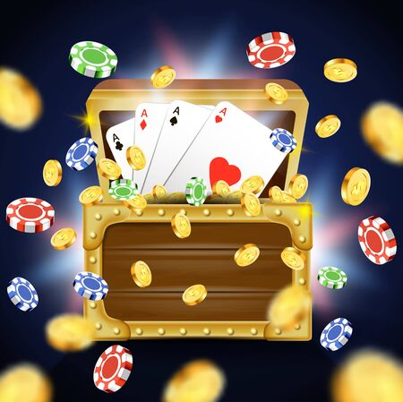 Playing Cards with Four Aces inside of Wooden Chest Full of Money, Golden Coins and Chips Falling on Blurred Background, Casino Gambling Game Industry, Entertainment, 3D Vector Realistic Illustration