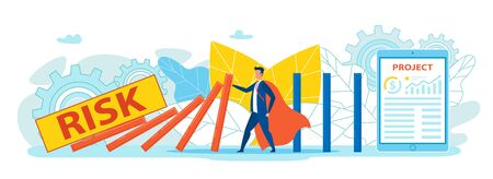 Social Media Marketing Flat Cartoon Banner Vector Illustration. Man in Hero Costume Holding Domino Fighting against Falling Wall Caused by Risk. Tablet with Project Graphics and Charts.
