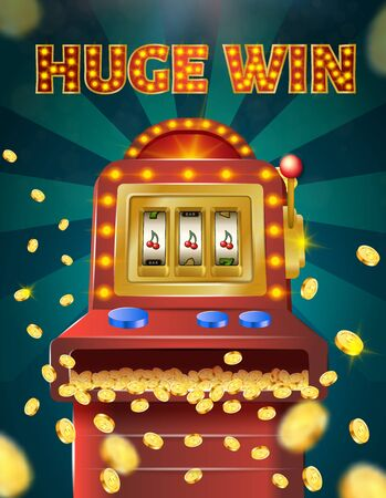 Huge Win Vertical Banner, Slot Machine with Three Cherries on Screen Show Winning Combination, Golden Coins Falling on Green Background with Radiant Rays, Casino Game, Vector Realistic Illustration
