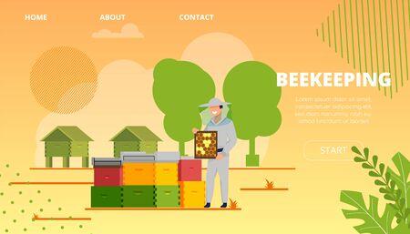 Illustration d'apiculture d'inscription de bannière plate. L'apiculteur mâle satisfait se tient dans le rucher et tient le nid d'abeilles avec du miel. Homme qui rit la récolte d'un rucher avec des abeilles. Page de destination.