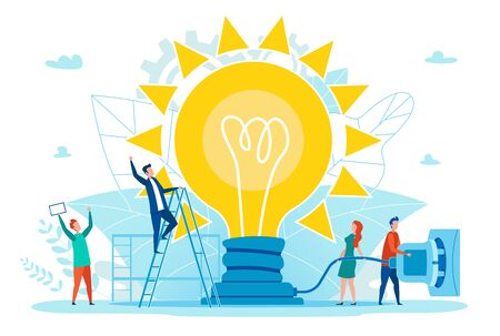 Bright Poster Successful Idea Works Cartoon Flat. Men and Women Rejoice in Fact that Large Lamp is Turned on and Gives Electricity. In Center Light is Powered by Mains. Vector Illustration.